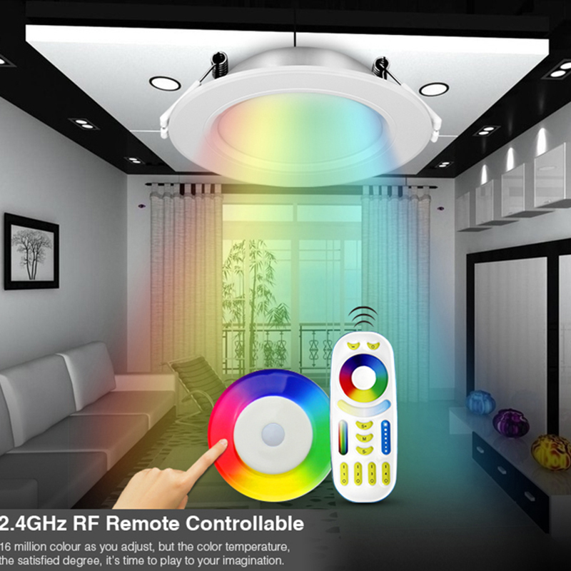 Milight 110 V 220 V 6 W RGB + SKK FUT068 LED downlight Dim 2.4G Wireles Akıllı Led Lamba aydınlatma