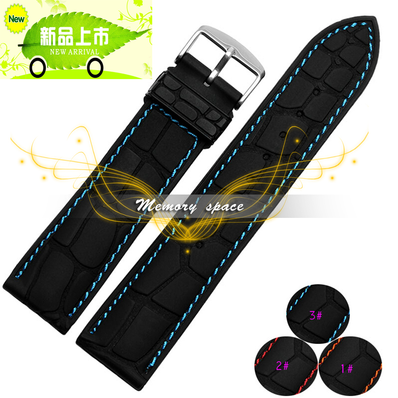 20mm 22mm Alligator grain Watch Band Wrist Rubber Mens Strap Sport Diver Waterproof Free shipping