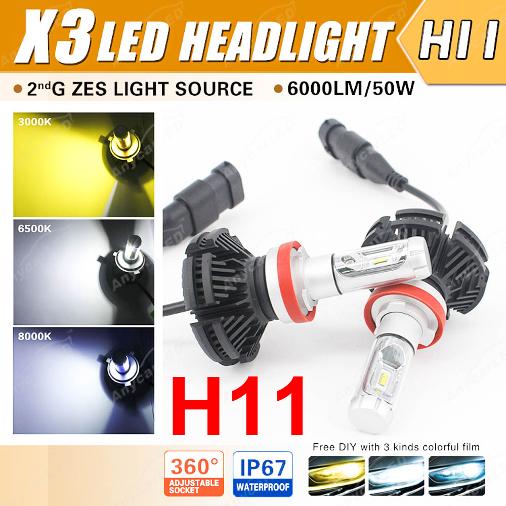 1 Takım H8 H9 H11 50 W 6000LM X3 LED Far LUMILED 2nd ZES Cips 12SMD Fansız All-in-one DIY 3 K 6.5 K 8 K Film Sürüş Sis ampuller
