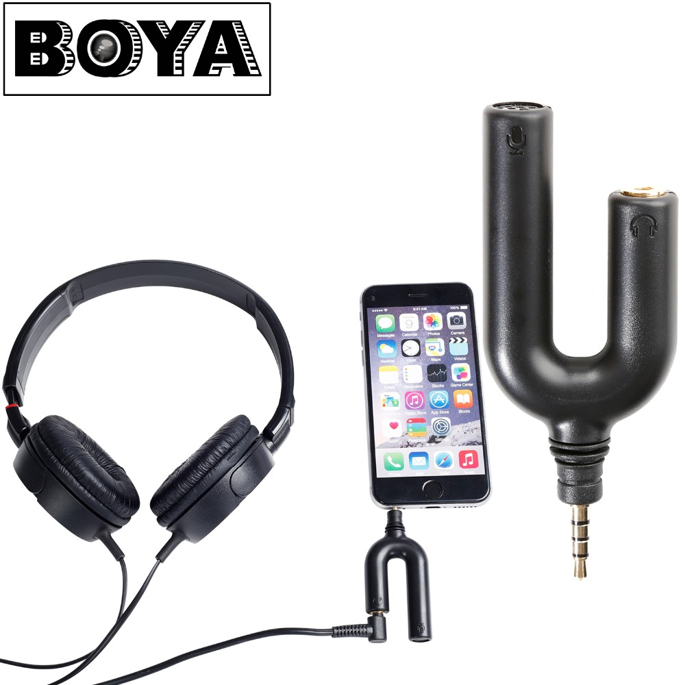 BOYA İLE BY-AUM3 3-position ile 3.5mm TRRS Mikrofon 3.5mm Kulaklık Splitter Adaptörü iPhone 6 6 s 5 5 s 4 4 s iPad ipod touch