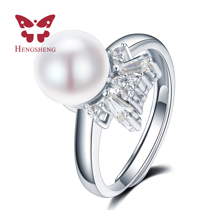 HENGSHENG real freshwater pearl ring for women gift adjustable ring with 2017 AAAA natural pearl jewelry